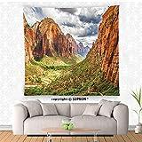 VROSELV custom tapestry National Parks Home Decor Tapestry Utah Plateau Mojave Desert Southwest Erosion Navajo Artprint Wall Hanging for Bedroom Living Room DormBrown Green