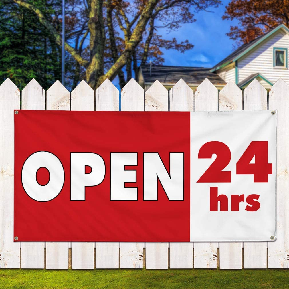 Multiple Sizes Available 24inx60in 4 Grommets Vinyl Banner Sign Open 24 Hrs #1 Business All Day Open Marketing Advertising White Set of 3