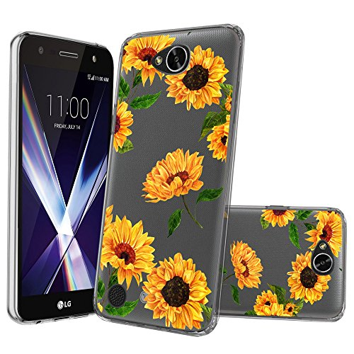 Clear MINITURTLE Case Compatible with LG Fiesta, LG Fiesta 2, LG X Power 2, LG X Charge(M320F) [Flex Force Crystal Clear Case][Flower Series] Shock-Absorbing Protective Case - Sunflowers (Sunflower Fiesta)