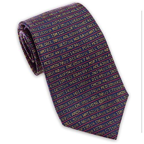 Josh Bach Men's Stock Ticker - Wall Street Silk Necktie Blue. Made in USA
