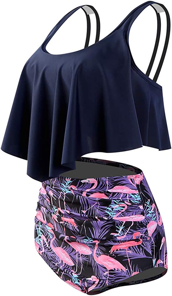 Bikini con top y braga de tiro alto para mujer Reciy