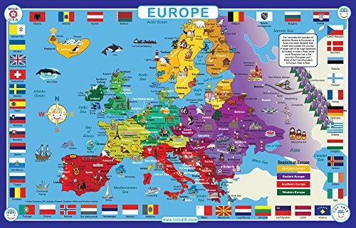 Tot Talk Europe Map Educational Placemat For Kids  Washable And Long Lasting
