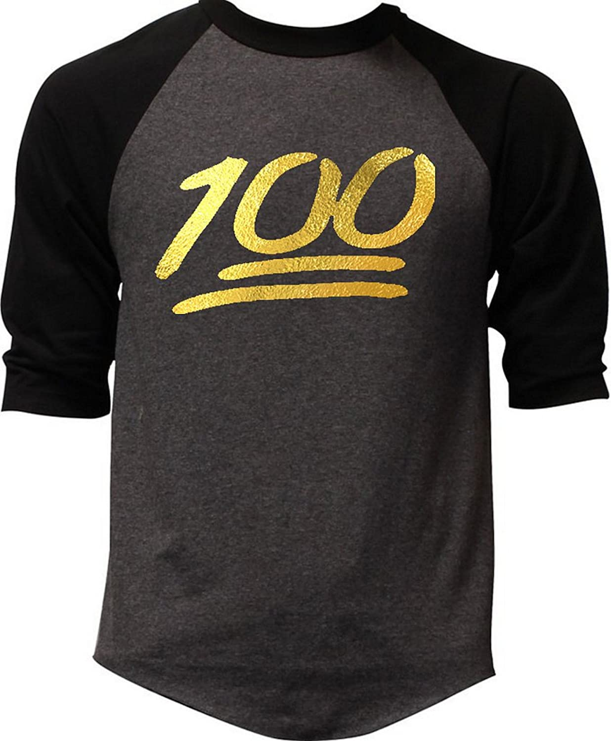Gold Foil Emoji 100 Percent Men's Charcoal Raglan Baseball T-Shirt Charcoal