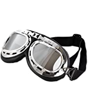 645d9bdd2a DSstyles Steampunk Aviator Pilot Style Motorcycle Cruiser Scooter Goggles  with Smoke Lenses
