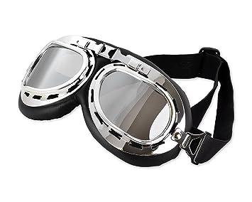 DSstyles Steampunk aviador estilo piloto motocicleta crucero scooter gafas con lentes de humo, vintage cool motocicleta snowboard gafas de sol con lentes de ...