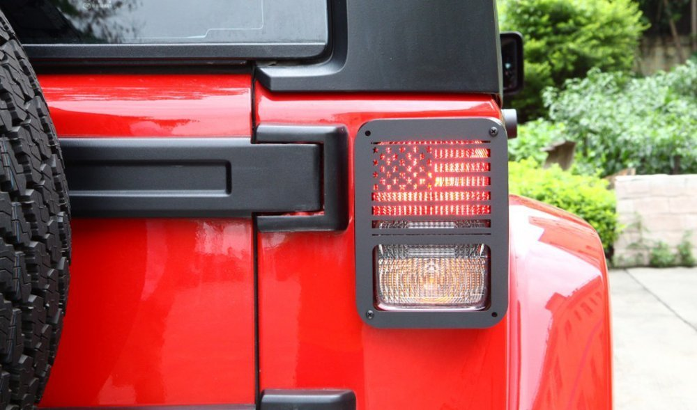 US Flag Soosee Tail Light Guards Covers For Rear Taillights 2007-2016 Jeep Wrangler JK Unlimited Accessories