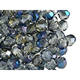 50pcs Fire-Polished Beads - Czech Faceted Glass Beads, Round 6mm,Crystal Blue Flare