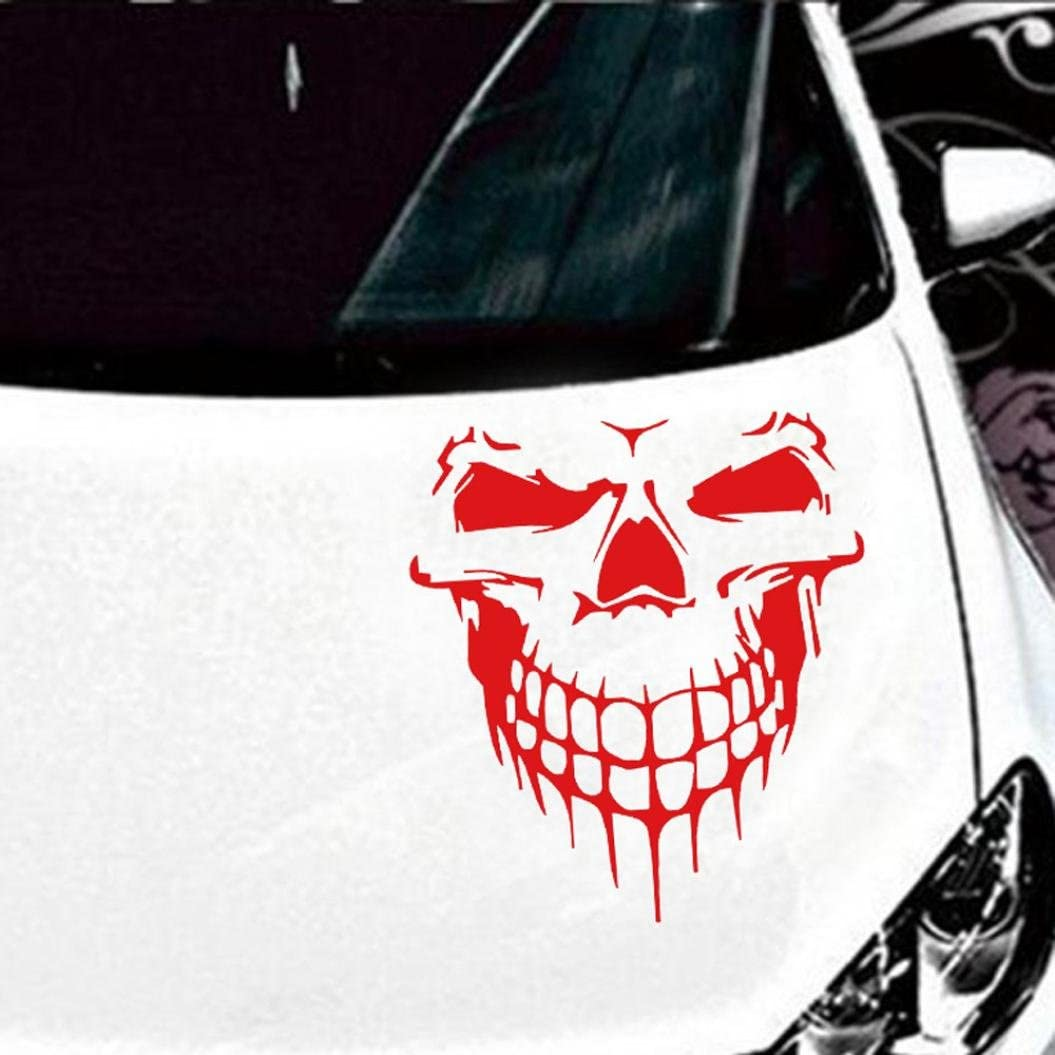 Car Stickers and Decals Black, Large Transer Reflective Skull Decal Window Sticker for Auto Cars Windows and other stuff. Laptops Trucks Walls