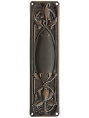 art nouveau push plate in antique copper door push plate brass