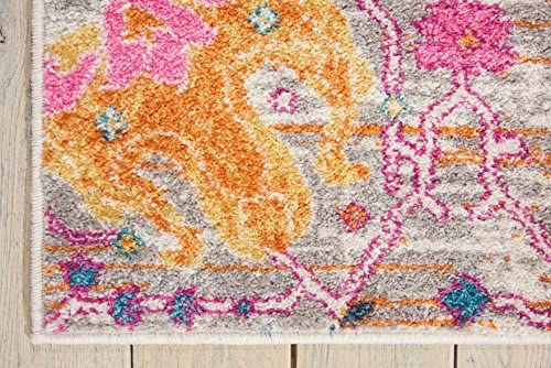Nourison Passion Bright Colorful Bohemian Silver Area Rug 6'7″ x 9'6″