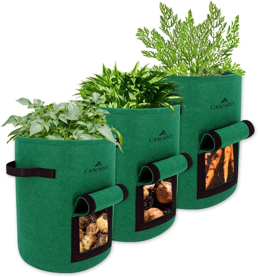 Cascadey 10 Gallon Potatoes Grow Bags-Heavy Duty Thickened Garden Growing Bags, Vegetable Planting Pots with Handles & Large Harvest Window (Pack of 3, Green)