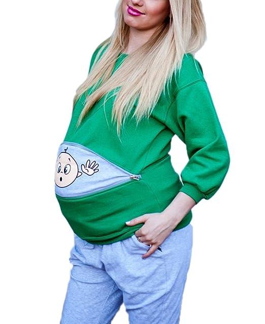deyou Camisa estampada bebé de maternidad Embarazo divertido Anuncio lindo Embarazada camiseta