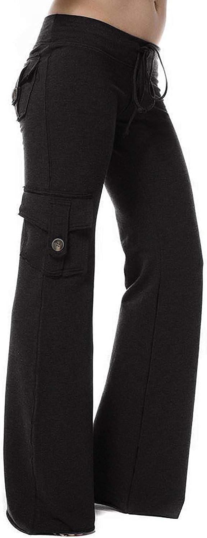 HSRKB Womens Yoga Pants Wide Leg Sweatpants Bootleg Pants with Muti Pockets
