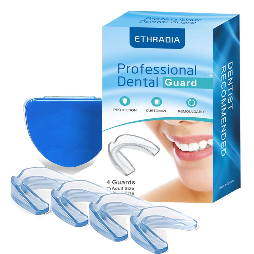 4 Pack Mouth Guards for Teeth Grinding, Anti Snoring Devices,Teeth Grinding Night Protector, Athletic Mouth Guard, Teeth Whitening Tray - Stops Bruxism, Eliminates TMJ & Teeth Clenching (M (Aldut)) Ethradia