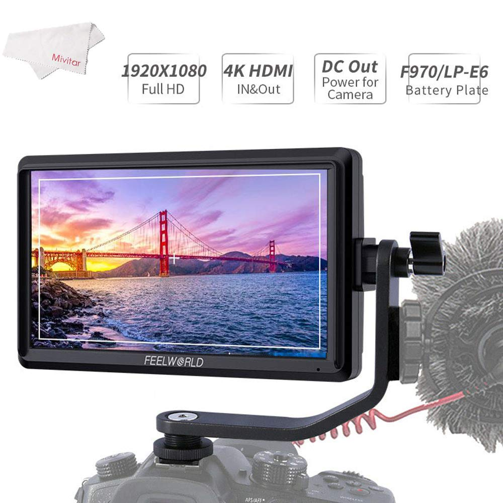 FEELWORLD FW568 5.5 Inch 4K DSLR Camera Field Monitor IPS Full HD 1920x1080 Support HDMI Input Output Tilt Arm by FEELWORLD