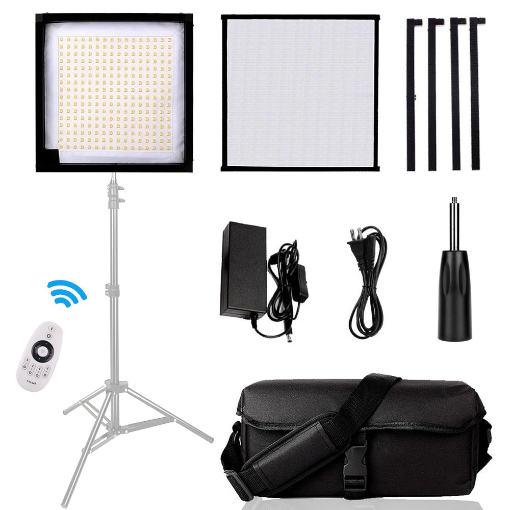 Led Lighting Panel, SAMTIAN Dimmable 5600K Led Photography Video Panel Light with 3030cm Soft Fabric and 2.4G 4 -Channel Remote Control for Video Photography