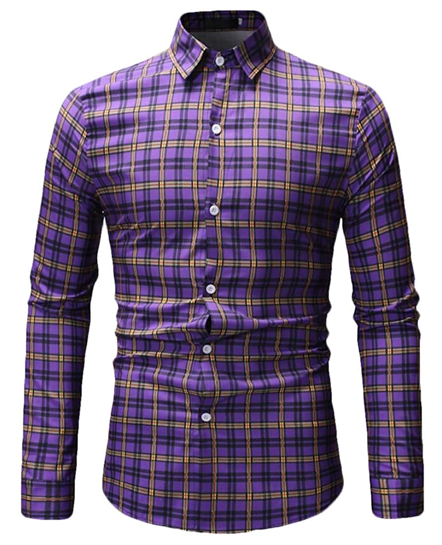 Frieed Mens Plaid Check Button Up Long Sleeve Business Basic Dress Shirts