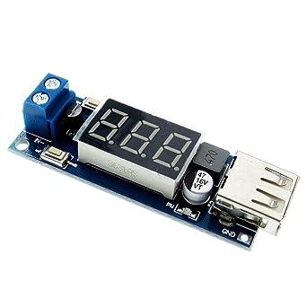 Amazon.com: Fevas DC 4,5-40V a 5V 2A Cargador USB LED Paso ...