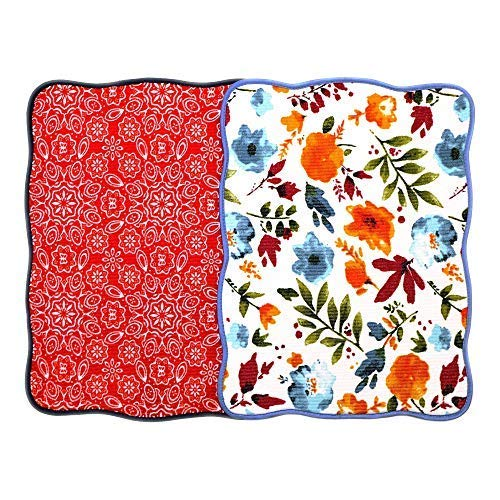 Microfiber Dish Drying Mat 15x20 Florals Printing Best for Home & Kitchen By Bear Family- Pack of 2 (C)