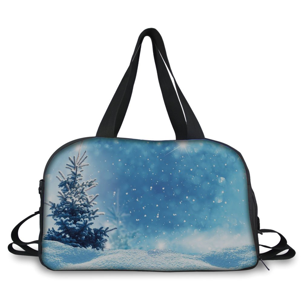 iPrint Travel handbag,Winter,Artistic Rendition of Snowy Season of Year Frozen Pine Tree Snowflakes Falling Down Decorative, ,Personalized