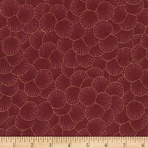 (Timeless Treasures 0561298 Metallic Sakura Packed Geo Leaf Maroon Fabric by The Yard,)