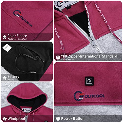 OUTCOOL Women's Cordless Heated Hoodie Kit Color Matching Design Full-Zip Hooded Fleece Sweatshirt(M) by OUTCOOL (Image #4)