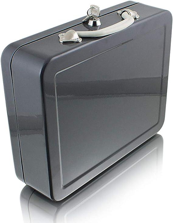 Geldkassette 30cm groß flach abschließbar Geldkoffer Transport Zählbrett schwarz