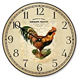 French Rooster Wall Clock, Available in 8 Sizes, Most Sizes Ship 2-3 Days, Whisper Quiet. For Sale