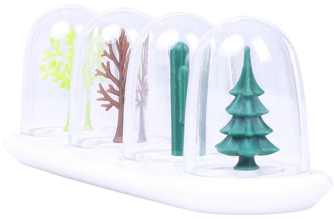 Design Quattro Stagioni 24 x 8 x 8 cm Set 4 contenitori trasparenti spezie Creativi utensili cucina con vassoio