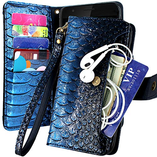 Galaxy Note 9 Case, Harryshell 5 Card Slot & Pocket Kickstand PU Leather Flip Wallet Case Protective Cover with Wrist Strap for Samsung Galaxy Note 9 (Blue)