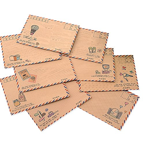 Zhi Jin 32Pcs Retro Airmail Letter Envelopes Case Holder Paper Envelope Gift Set for Post Greeting Card Travel, Kraft (Airmail Postcard)