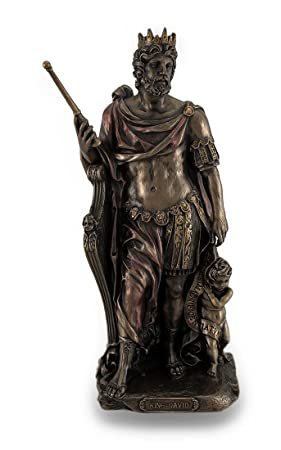 Bronze Finished King David Statue Hand Painted Accents
