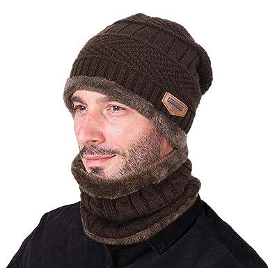 Guantity limitata Super sconto stile alla moda Goodbuy Berretto Uomo in Maglia per Inverno Caldo Cappello Beanie con  Sciarpa
