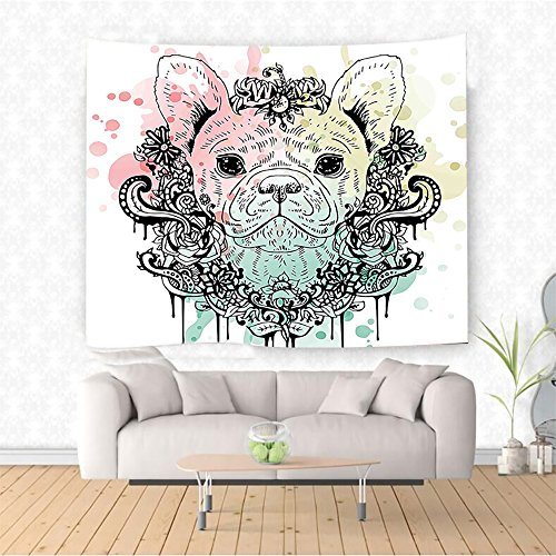 Animal French Bulldog with Floral Wreath on Brushstroke Watercolor
