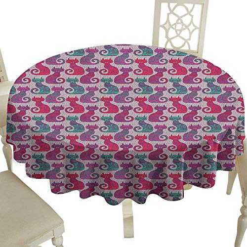 party round tablecloth 70 Inch Purple,Swirls and Curls Background with Damask Inspired Paisleys on the Ethnic Colorful Cat Multicolor Suitable for traveling,outdoors,family,restaurant,coffee shop More