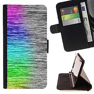 BullDog Case - FOR/Samsung Galaxy Core Prime / - / cool rainbow art brushed pattern /- Monedero de cuero de la PU Llevar cubierta de la caja con el ID Credit Card Slots Flip funda de cuer