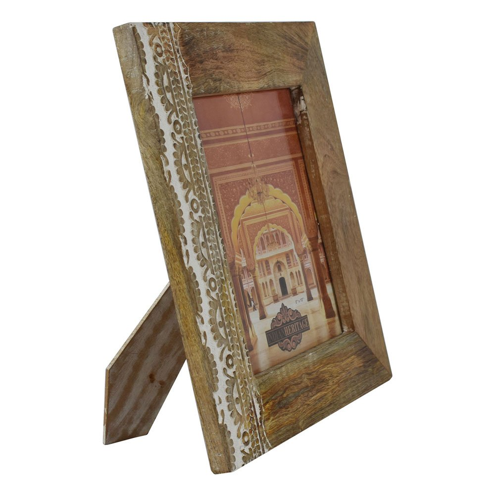 Indian Heritage Wooden Photo Frame 8x10 Carving Design with Natural Wood and White Distress Finish