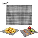2 Packs BBQ Grill Mat - Non-Stick Cooking Mesh Mats for Grilled Vegetables/Fish/Fajitas/Shrimp,Use on Gas, Charcoal, Electric Barbecue Heavy Duty Heat Resistant Durable (Black)
