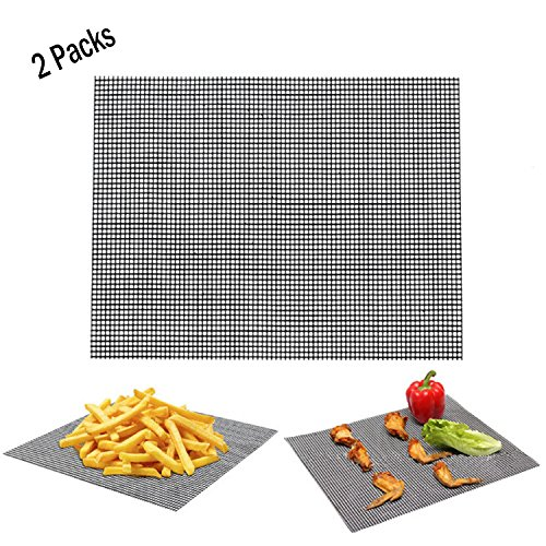 2 Packs BBQ Grill Mat - Non-Stick Cooking Mesh Mats for Grilled Vegetables/Fish/Fajitas/Shrimp,Use on Gas, Charcoal, Electric Barbecue Heavy Duty Heat Resistant Durable (Black) by TastyHome