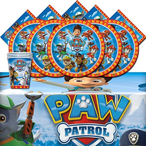 Paw Patrol Rescue Puppy Pet Children Birthday Complete Party Tableware Pack For 16 -
