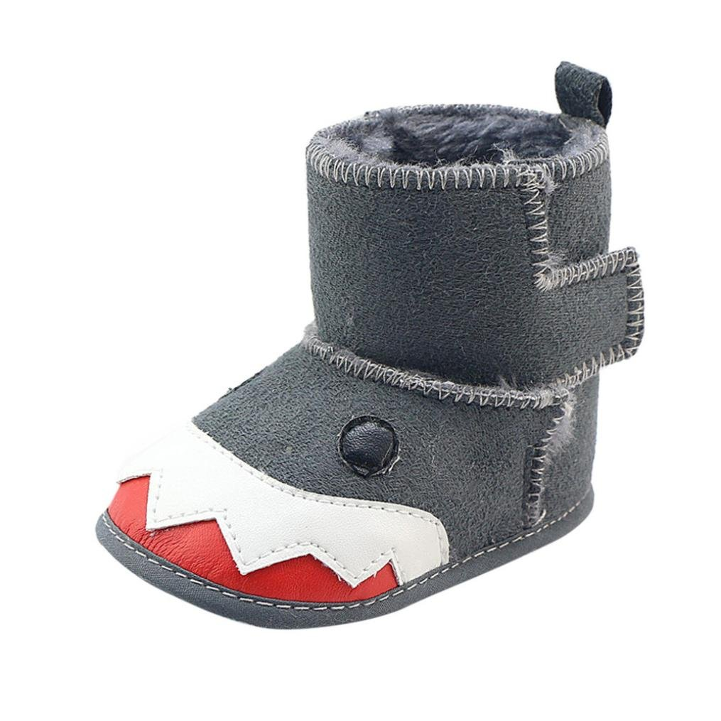 For 0-18 Months,Clode® Toddler Baby Boys kids PU Leather Soft Sole Animal Shark Style Snow Boots Sneaker Prewalker Children Wellies Casual Booties Slippers (6-12 Months, Gray) Clode-B-002
