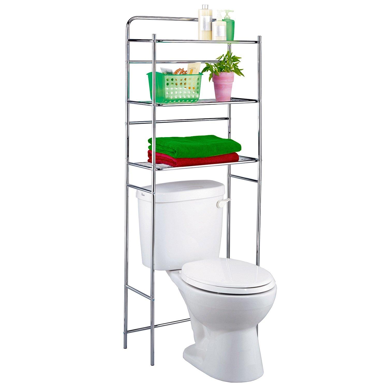 Bathroom Shelf WC Space Saver Storage over Toilet Chrome Cabinet ...