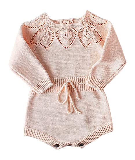 96d41dac6201 Amazon.com  Newborn Baby Girls Cute Knit Strap Romper Leaves Pattern  Jumpsuit Bodysuit  Clothing