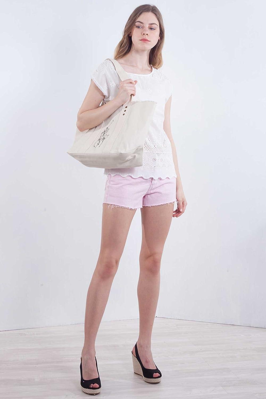 POLO RALPH LAUREN Donna - Shopper in twill di cotone panna con ...