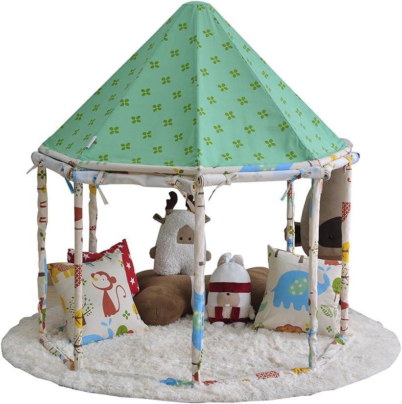Pericross キッズテント モンジャルダンテント 子供ハウス お城 装飾 キャッスル ドームテント 組立て簡単 収納ケース付 屋内用 屋外用 プレゼント おもちゃ 知育玩具 お誕生日 出産祝い グリーン