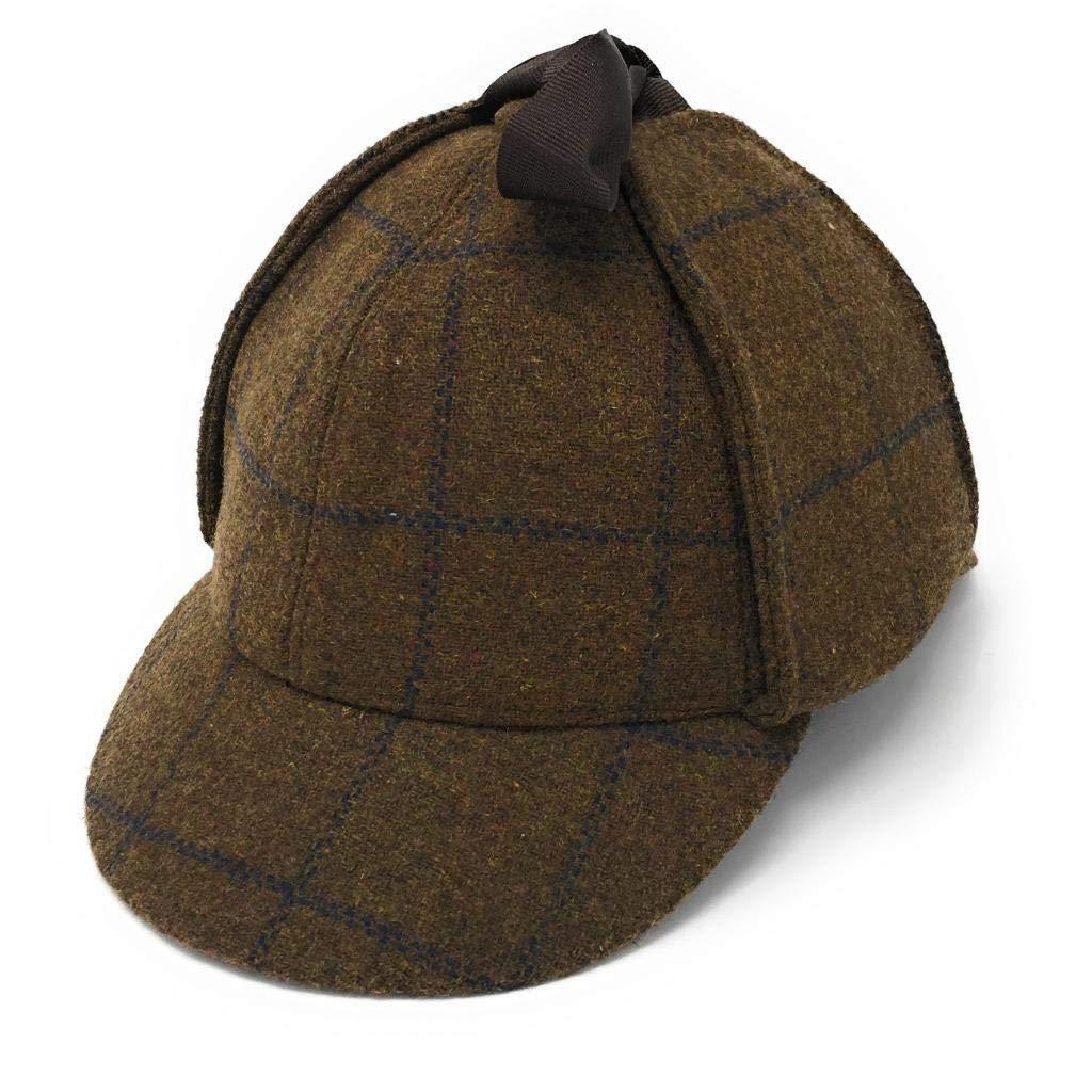 Tweed Deerstalker Hat Sherlock Holmes Peaks Brims Ear Flaps Hawkins Country