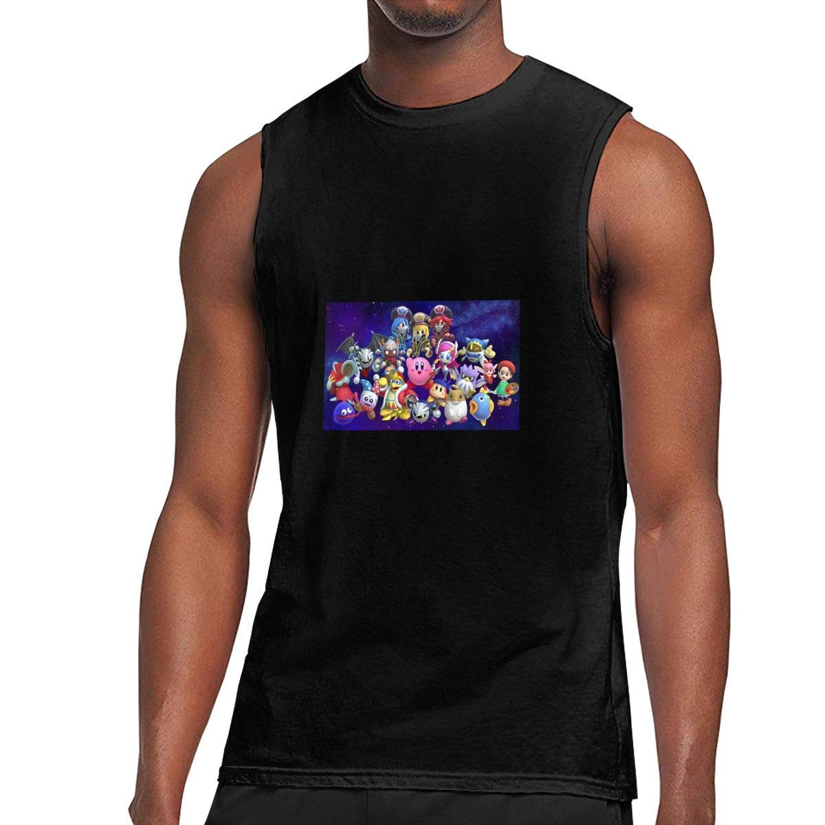 S Sleeveless T Shirts Kirby Workout Tank Tops Gym Bodybuilding Tshirts Black