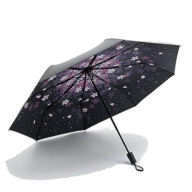e154fbe890aef Windproof Compact Travel Umbrella, Pococina Waterproof Folding Cherry Photo  Umbrellas Cover for Women Men and