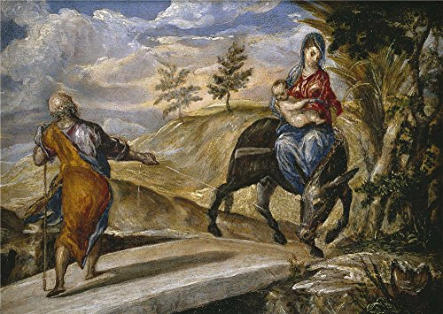 'El Greco The Flight To Egypt Ca. 1567 ' Oil Painting, 10 X 14 Inch / 25 X 36 Cm ,printed On Perfect Effect Canvas ,this Cheap But High Quality Art Decorative Art Decorative Canvas Prints Is Perfectly Suitalbe For Kitchen Artwork And Home Decor And Gifts