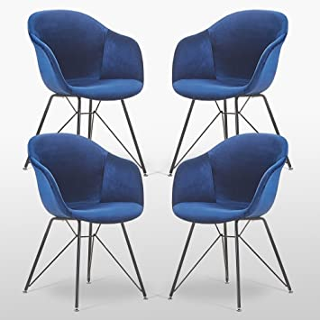 Pu0026N Homewares Valentina Velvet Chair In Royal Blue (Four Chairs) | For  Living Rooms